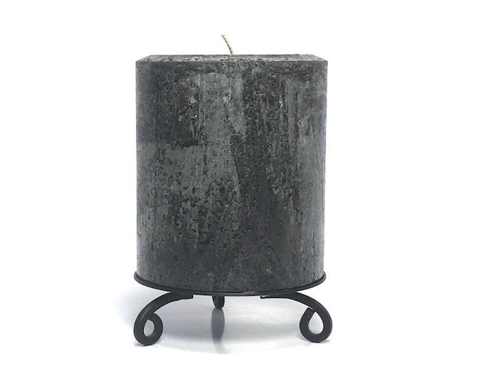 Black Rustic Textured Unscented Pillar Candle - Choose Size - Handmade