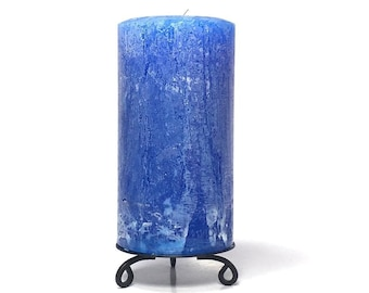 Royal Blue Rustic Unscented Pillar Candle - Choose Size - Handmade