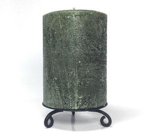 Hunter Green Rustic Unscented Pillar Candle - Choose Size - Handmade