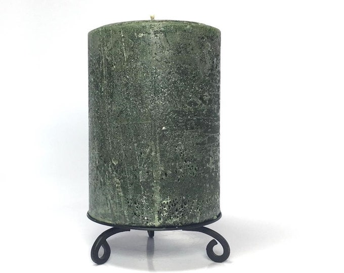 Hunter Green Rustic Unscented Pillar Candle - Choose Size - Handmade