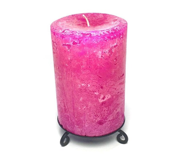 Bright Hot Pink Unscented Rustic Pillar Candle - Choose Size - Handmade
