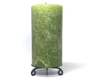 Pear Green Rustic Textured Unscented Block Pillar Candle - Choose Size - Handmade