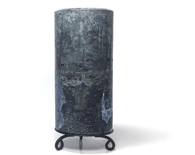 Midnight Blue Rustic Textured Unscented Block Pillar Candle - Choose Size - Handmade