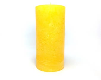 Yellow Gold Rustic Unscented Pillar Candle - Choose Size - Handmade