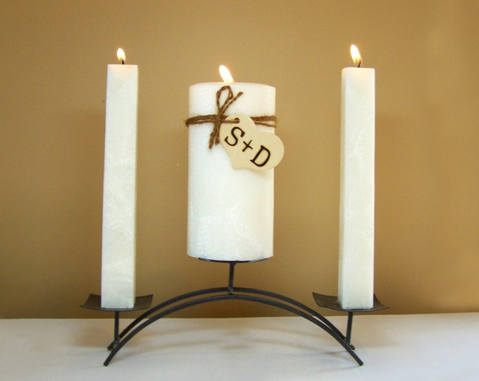 "Personalized Rustic Unity Candle Set for Weddings (Stand NOT Included) - 6"" Tall"