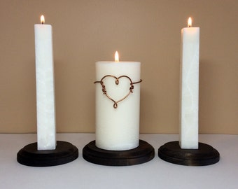 "Unity Wedding Ceremony Candles Set and Stand with Modern Wire Wrapped Copper Heart - 6"" Tall"