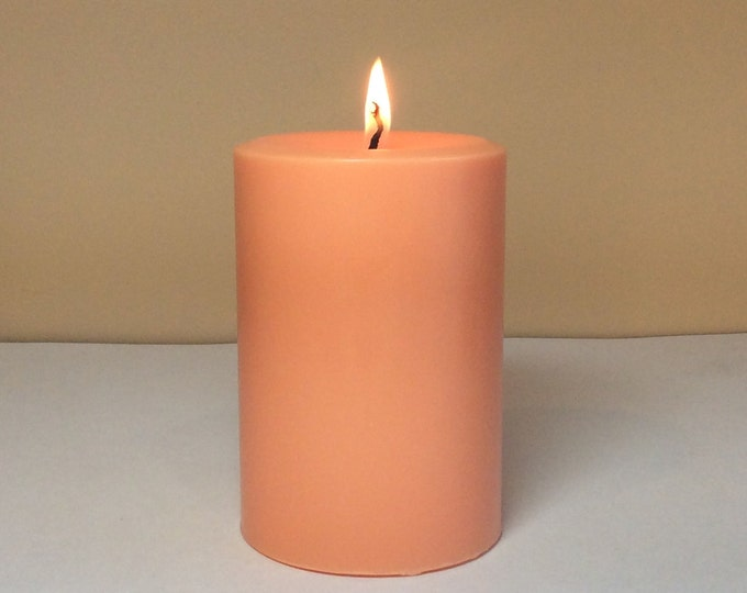 "Peach Soy Pillar Candle Unscented - Choose 4"", 6"", 9"" Height"
