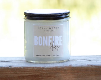 Bonfire Bliss Scented White Jar Candle   12 Ounces   Handmade