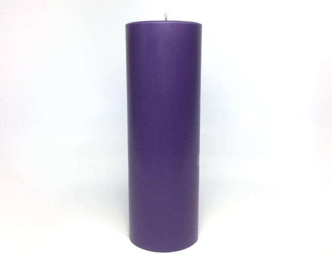 "Dark Purple Unscented Pillar Candle - Choose 4"", 6"", 9"" Tall"