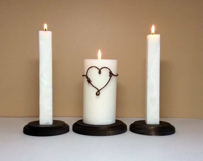 "Unity Candle  Set and Stand / Holder for Weddings Ceremony - 6"" Tall"