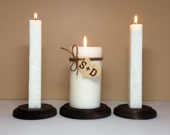 "Unity Candle Set and Stand Personalized with Monogram for Wedding Ceremony - 6"" Tall"