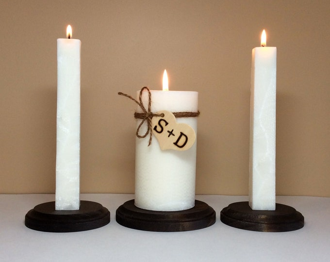 """Unity Candle Set and Stand Personalized with Monogram for Wedding Ceremony - 6"""" Tall"""