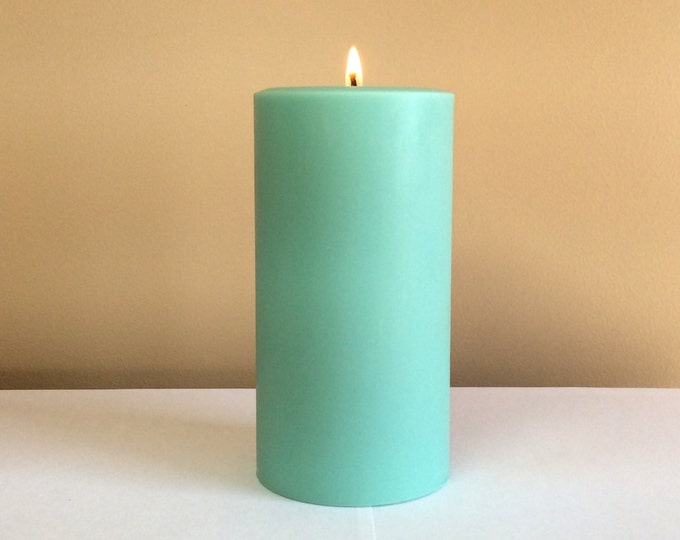"Light Green Soy Pillar Candle Unscented - Choose 4"", 6"", 9"" Height"