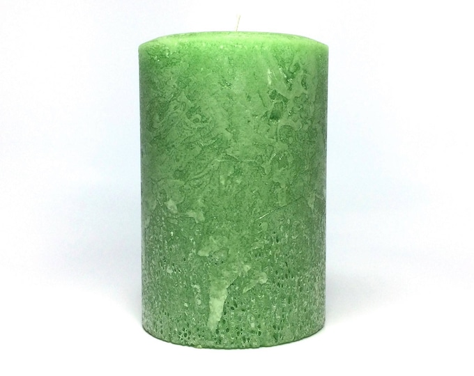 Light Green Rustic Unscented Pillar Candle - Choose Size - Handmade