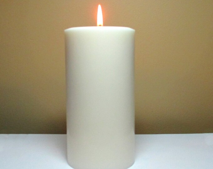 "White Soy Pillar Candle Unscented - Choose 4"", 6"", 9"" Height"