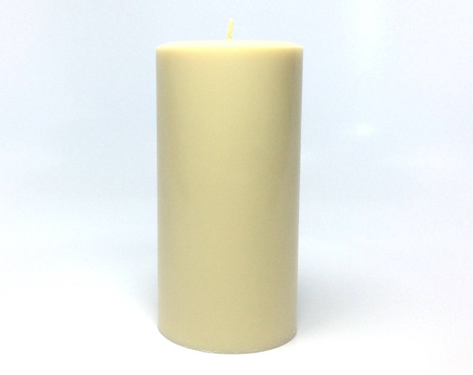 "Cream / Ivory Soy Pillar Candle Unscented - Choose Height 4"", 6"" or 9"""