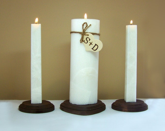 "Wedding Unity Candle Set and Wood Stand - Personalized - 9"" Tall"