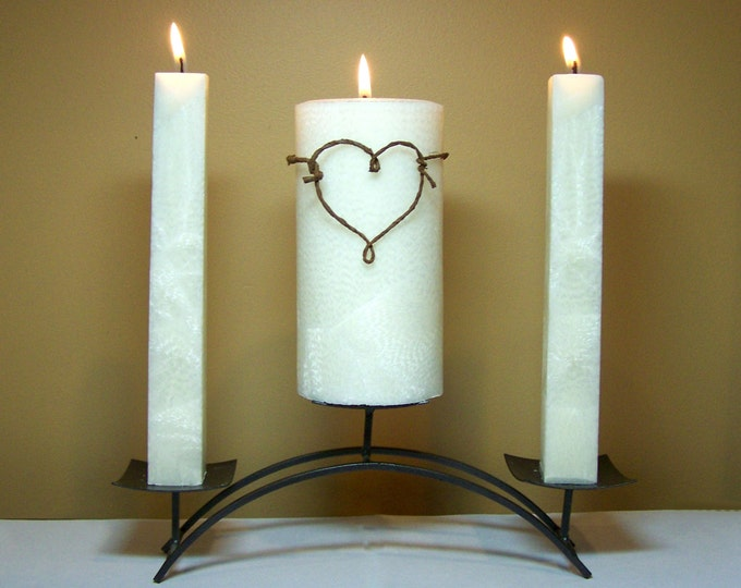 "Rustic Unity Candle Set for Weddings (Stand NOT Included) - 6"" Tall"