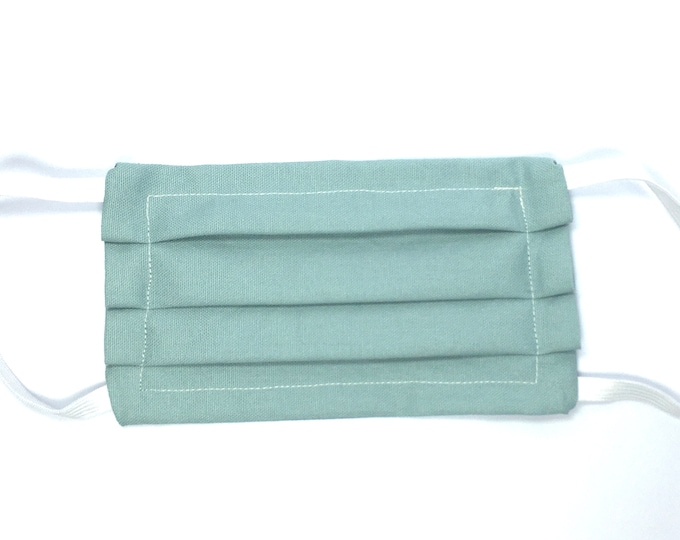 Fast Shipping - Choose Size - Double Layered Solid Green Face Mask - Washable Resusble Cotton with Elastic Ear Loops and Filter Pocket