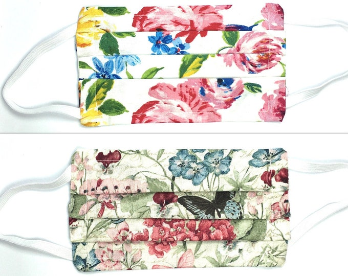 Fast Shipping - Choose Style & Size - Double Layered Floral Flower Face Mask - Washable Cotton with Elastic Ear Loops and Filter Pocket