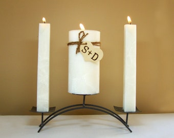 """Personalized Rustic Unity Candle Set for Weddings (Stand NOT Included) - 6"""" Tall"""
