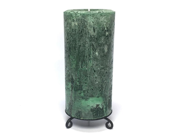 Green Rustic Unscented Pillar Candle - Choose Size - Handmade