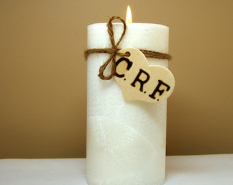 Rustic Memorial Candle for Weddings, Funerals, Personalized
