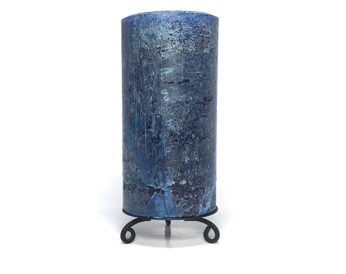 Classic Blue Rustic Textured Unscented Block Pillar Candle - Choose Size - Handmade