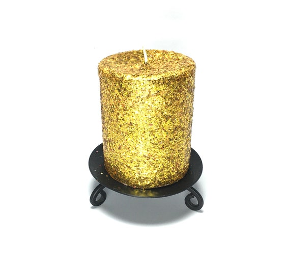 Gold Glitter Unscented Decorative Pillar Candle Choose Size Etsy
