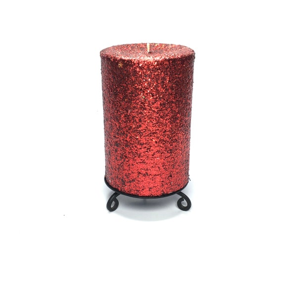 Red Glitter Unscented Decorative Pillar Candle Choose Size Etsy