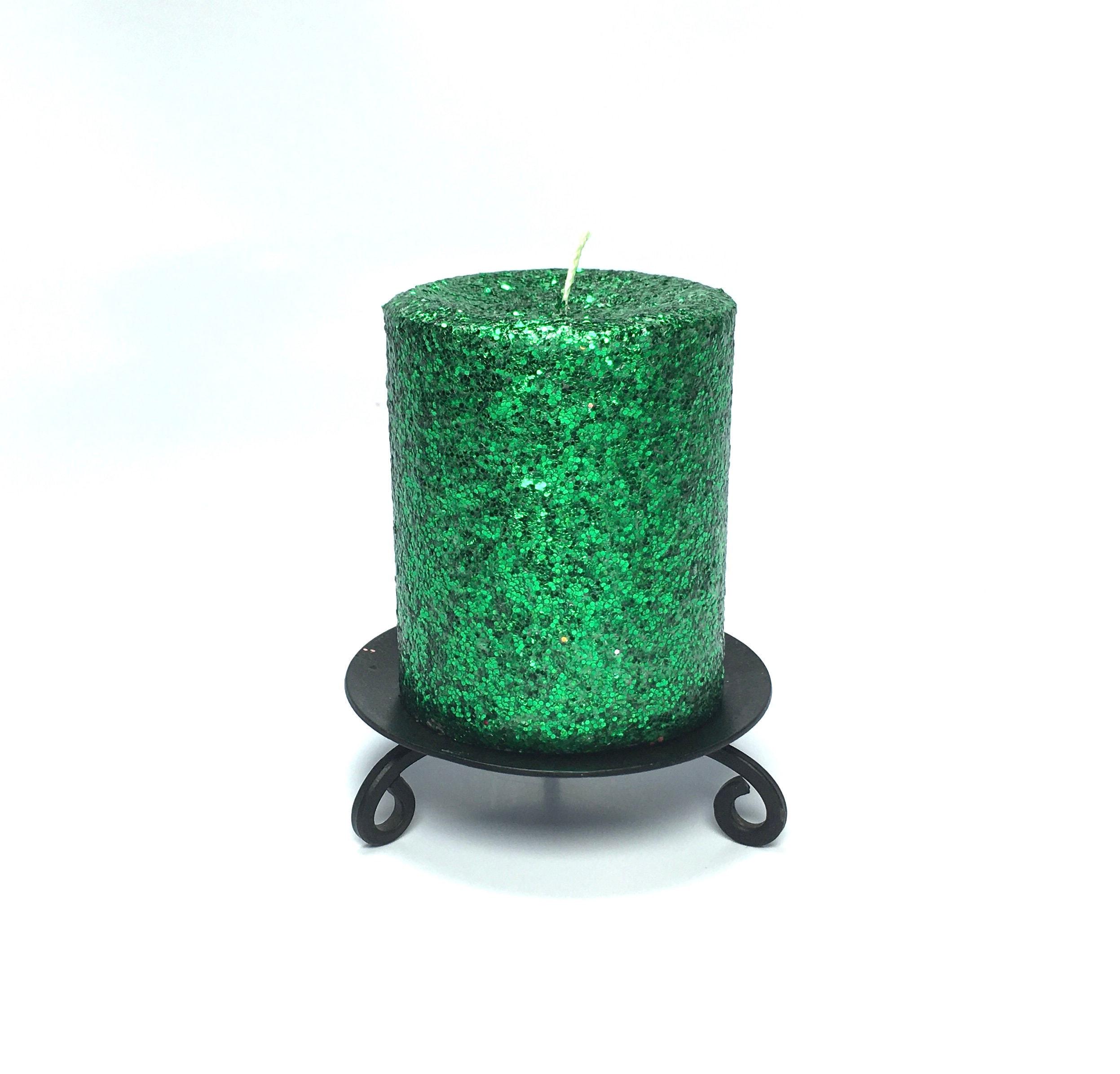Green Glitter Unscented Decorative Pillar Candle Choose Size Handmade