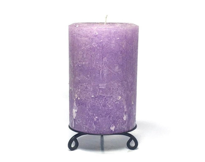 Amethyst Purple Large Unscented Rustic Textured Pillar Candle - Choose Size - Handmade