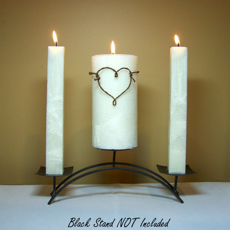 Rustic Unity Candle Set for Weddings Stand NOT Included  image 0