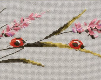 Counted cross stitch kit with flowers and ladybug, for her, for mom, for mother, for grandmother, nature, for living room, flora, fauna
