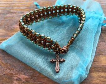 Faded Green Cross Charm Flat Beaded Bracelet