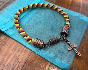 Autism Awareness Bracelet with Cross Charm