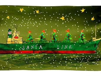 Santa Line tanker holiday greeting cards, boxed set of 10