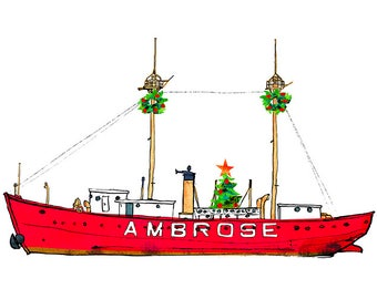 Holiday Ambrose Lightship greeting cards, boxed set of 10