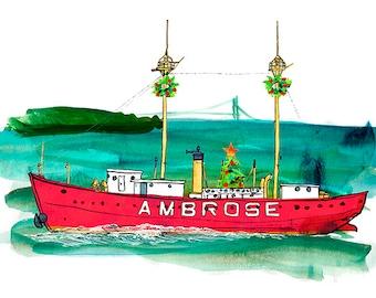 Lightship Ambrose LV 87 / WAL 512 Holiday greeting cards