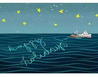 Fishing Boat Phosphorescent Holiday greeting cards