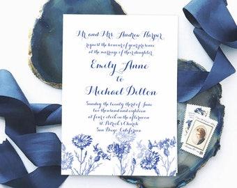 Botanische Hochzeitseinladung   Kornblume Blau Einladung, Königsblau  Hochzeits Einladungen, Garten Hochzeit Einladen Druckbare