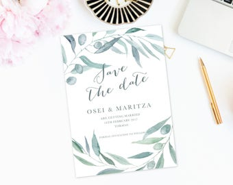 Printable Olive Save the Date - Watercolor Greenery Save The Date, Save The Date Template,Wedding Invitations,Save The Date Printable