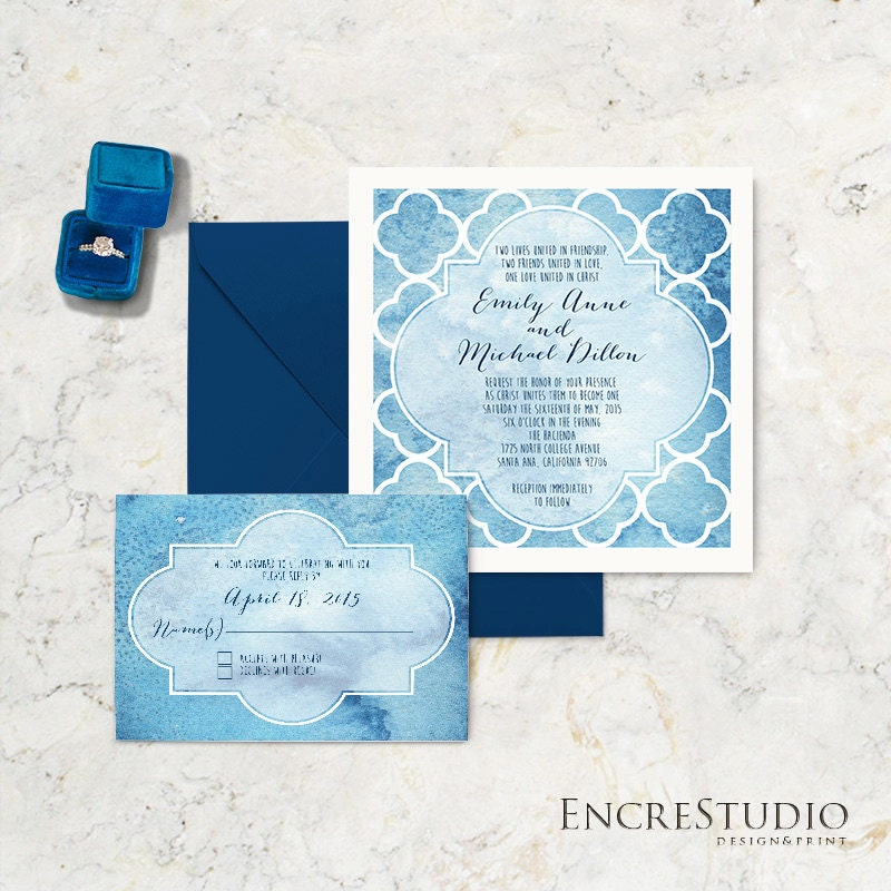 Spanish Wedding Invitations: Wedding Invitation Suite Spanish Tile Wedding Invitation
