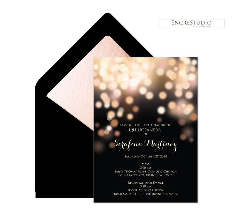 Instant Download Editable Quinceanera InvitationTemplate Rose Gold and Black Bokeh Sweet Sixteen Invitation