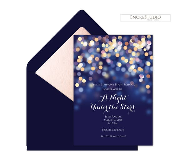 a night under the stars prom invitation starry night prom etsy