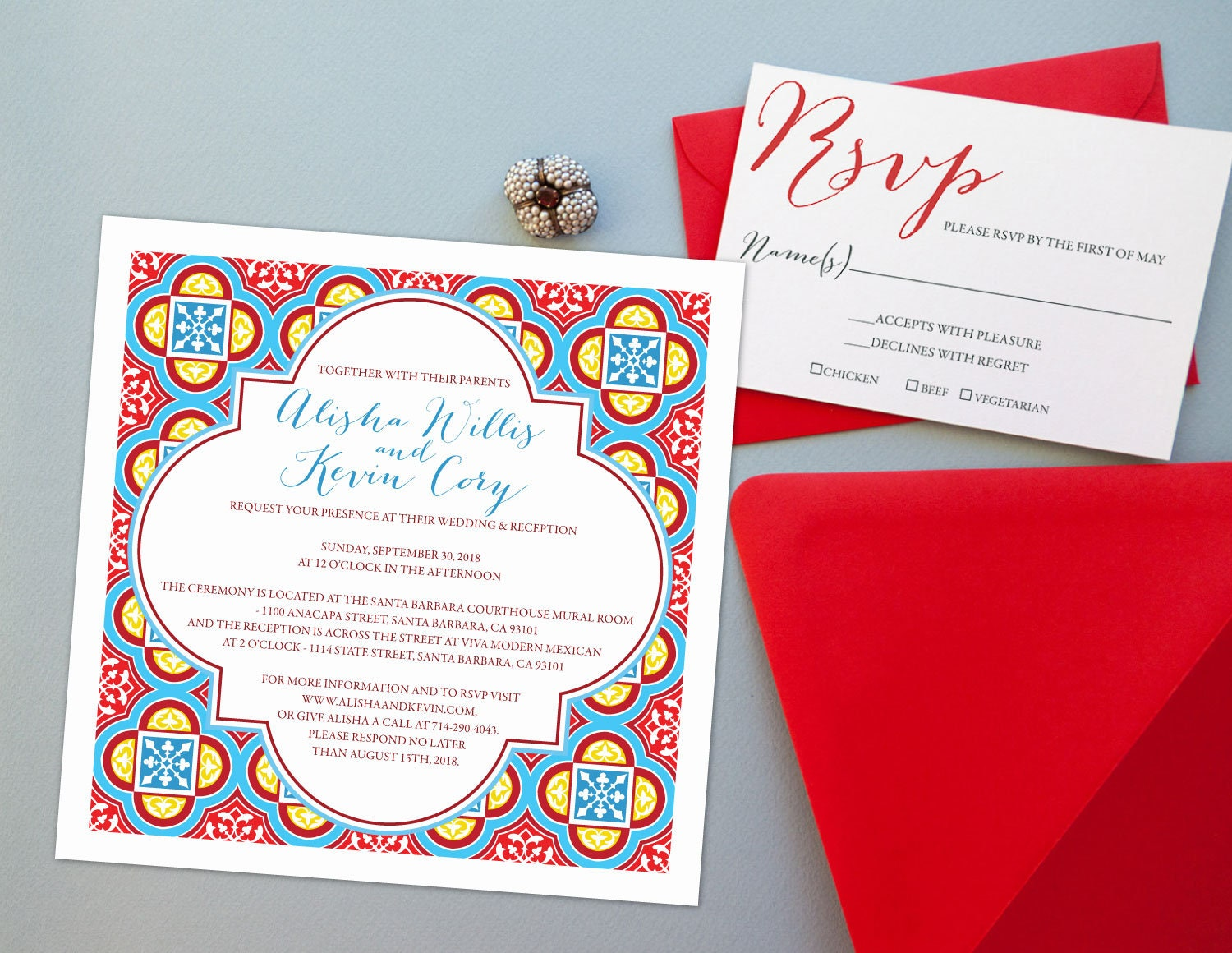 Spanish Tiles Wedding Invitation Suite Square Red and | Etsy