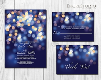 Printable Gold and Blue Bokeh Wedding Invitation - Night Lights, Under the Stars Wedding Invitation, Gold and Navy Starry Night Invitation
