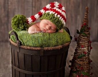 SALE Baby Boy Hat Newborn Baby Girl or Boy Crochet  Christmas Hat xmas elf hat santa hat Photography Prop Pink Red Green