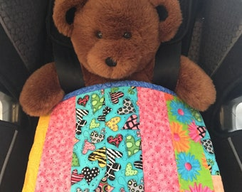 Baby Quilt Stroller Quilt Toddler Blanket Blue and Gold Quilt Baby Shower Gift for Boy or Girl Play Mat Car Seat Blanket