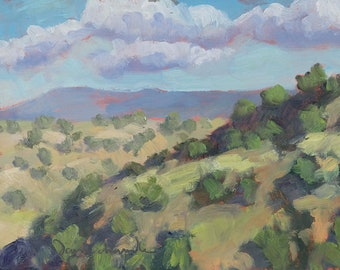 Afternoon in the Cerrillos Foothills (plein air painting, New Mexico landscape, oil painting)